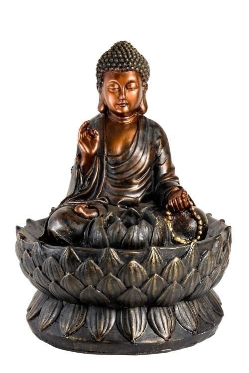 Bronze fountain Buddha isolated